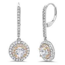 2.72ct Round Cut Halo Leverback Drop Dangle Designer Earrings 14k Two-Tone Gold