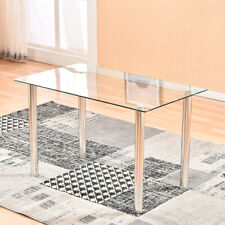 New Modern Tempered Glass Dining Table Metal Leg Kitchen Home Furniture Clear US