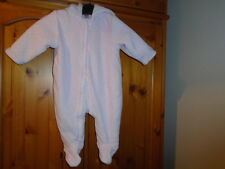 Cosy baby girls light pink and white spot velour feel snowsuit, TU, 3-6 months
