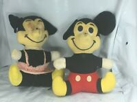 Vintage Disney Mickey & Minnie Mouse Plush Dolls 1970s Disneyland Restoration