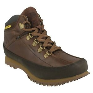 RESTORE MENS CATERPILLAR LEATHER LACE UP CASUAL  CASUAL MID CUT BOOTS SHOES
