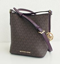 Michael Kors Bag Kimberly Sm Bucket Signature Logo Messenger Braun Damson New
