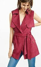 NEW EXPRESS WOMENS Berry Sleeveless Faux Suede Trench Coat MEDIUM