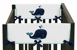 Blue Whale Front/Side Rail Guard Crib Cover Baby Teething Protector Wrap