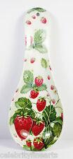Spoon Rest Holder Utensil Strawberry Fayre Design Great Gift Present for Home