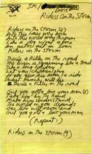 DOORS Jim Morrison Handwritten Lyrics 'Riders On The Storm' - preprint