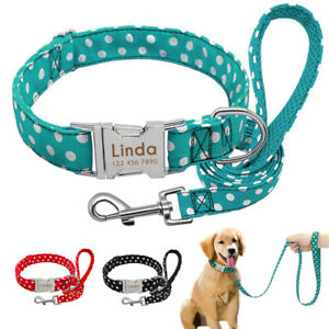 Polka Dots Dog Personalised Collar and Lead set ID Name Tags Engraved Free Black