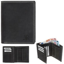 Ledergeldbörse Herren Leder Hunter Lederbörse Elephant wallet 253 hoch Schwarz