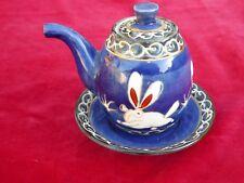 Vintage Oriental Tea Pot Signed Character Mark Moon Rabbit 1 Cup