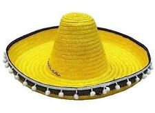 YELLOW COLOR LARGE MEXICAN SOMBRERO STRAW HAT WITH TASSELS mexico headwear new