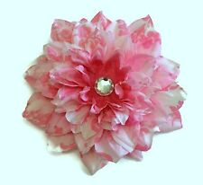 "Large 6"" Pink Silk Dahlia Flower Custom Hair Clip barrette or Headband Handmade"