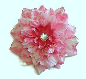 """Custom 6"""" Pink Dahlia Silk Flower Damask w/ Crystal Handmade Clip or Barrette"""