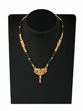 """Indian Mangalsutra 22K Gold Plated Black Beads 26"""" Traditional Necklace M491"""