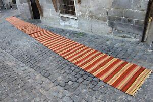 "Extra Long Vintage Handmade Turkish Oushak Runner Kilim Rug 33'x2'4"""