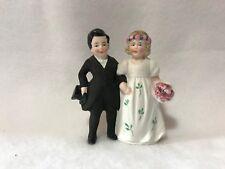 "Vintage German Bisque Hertwig & Co. Bride & Groom Wedding Cake Topper 3"""