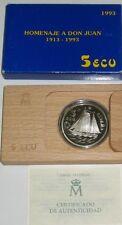 5 ECU. Año 1993. Don Juan de Borbón. Plata 925/1000. Peso 33.60 gr. 1 ONZA.