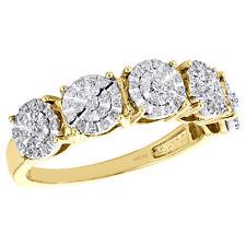 10K Yellow Gold Mens Real Round Diamond Wedding Band 5 Stone 6.50mm Ring 0.52 CT