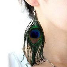 FD4213 Peacock Feather Women Dangle Earrings Ear Drop Lady Jewelry Pair♫