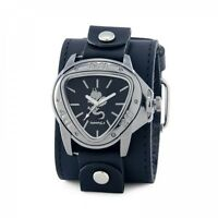 Nemesis Silver Dragon Watch with Black XL Stitch Leather Cuff Band LBB928S