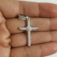925 Sterling Silver White Round Micro Pave Cubic Zirconia Cross Pendant