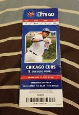 (1) KRIS BRYANT MLB DEBUT GAME FULL SEASON TICKET STUB 4/17-CUBS