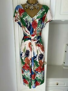 Linea Size Uk 16-18 Stylish Vibrant Floral & Bird Print Lined Dress Bust 42-44""