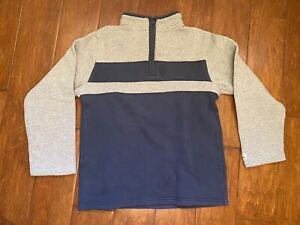 EUC Janie and Jack  Boys Striped Fleece Zip Jacket Navy Gray 8