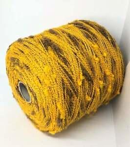 Yellow 100% Wool Italian Yarn on Cone per 0.88lb / 400g Knitting Machine Craft
