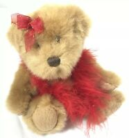 Fancy Mohair Poseable Teddy Bear Plush Red Boa Scarve Now Valentine Mothers Gift