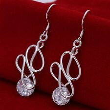 Dangle Earrings For Women E202 Fashion 925Sterling Solid Silver Jewelry Crystal
