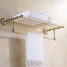 Gold Color Brass Wall Mounted Towel Holder Shelf Bathroom Storage Rack ZD766