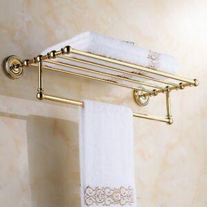 Gold Color Brass Wall Mount Bathroom Towel Rack Towel Rail/ Towel Bar Shelf