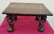 Hardwood African Small side table / footstall with carved figure legs
