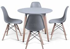 Eiffel Style Small Grey Dining Set 90cms Round Table Wood Legs 4 Chairs Art Deco