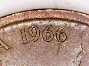1966 Australia 1c One Cent ** ERRORS - DOUBLING and OFF CENTRE ** #B51