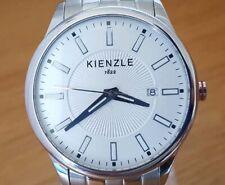 Mens XL Classic Silver Bracelet Kienzle 1822 Minimalist White Analog Date Watch