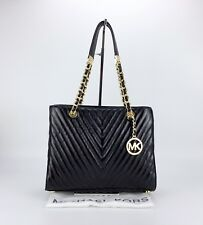 MICHAEL KORS Susannah Black Quilted Gold Chain Leather Purse Tote Handbag