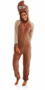 Poop EMOJI womens juniors LARGE (12-14) one-piece sleepwear PAJAMAS costume NWT