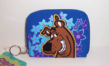 SCOOBY DOO Blue Flowers ZIPPERED WALLET COIN PURSE ID Card Case Tote Keyring NEW