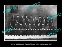 OLD LARGE HISTORIC PHOTO OF DETROIT MICHIGAN TRUMBELL Ave POLICE SQUAD c1894