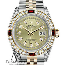 Womens Rolex Steel-Gold 36mm Datejust Watch Champagne String Dial Ruby & Diamond