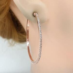 Genuine 1.15ctw H-SI Diamond 14K Rose Gold 925 Silver Large Hoop Earrings 6.6g