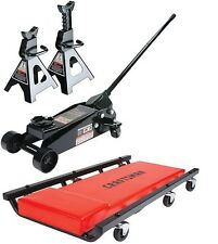 Craftsman 3 ton Floor Jack with Jack Stands and Creeper Set 6000 Pound Lift