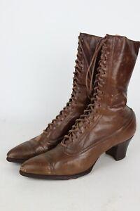 Antique Vintage Womens Brown Victorian Leather Cap Toe Boots Levi Co Oil City PA