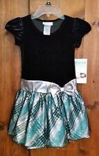 BONNIE JEAN Black Silver Turquoise Plaid Sparkle Christmas Holiday Dress Sz 6X
