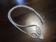 """925 Sterling Silver Signed Big Filigree Heart Wings Pendant Crystal Necklace 26"""""""