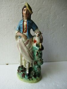 "Antique 19Thc Staffordshire Figure Lady Holding Baby Goat Figurine Porcelain ""F2"
