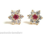 9ct Gold Ruby and CZ Cluster Stud Earrings Gift Boxed studs Made in UK