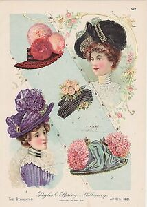 #MISC-0167 - (LOT OF 2) 1901 DELINEATOR COLOR LITHOGRAPH COLOR FASHION PLATES