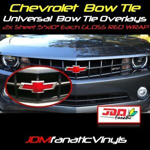 "2x 5""x10"" High Gloss RED BowTie Emblem Overlays Decal Vehicle Wrap Universal KIT"
